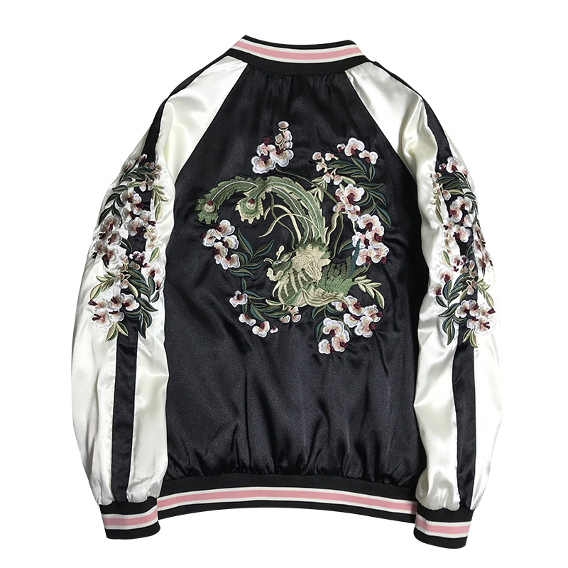 Double-sided Wear Embroidery Jacket Women Contrast Color Satin Soft Basic Jackets Coat Bf Style Bomber Jacket Tops