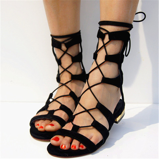 423398b0273 Strappy Cage Lace Up Gladiator Sandals Women Suede Peep Toe Summer Boots Stylish  Sandals For Beach Flats Cutout Zapatos Mujer 40