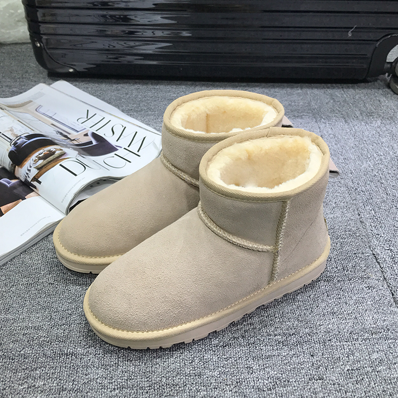 GXLLD New arrivals Fashion Women Snow Boots 100 Leather Wool Snow Boots Warm Non Slip Winter