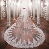 lakshmigown 3.5 Meters Long Wedding Veils 2018 Luxury Royal Cathedral Length Sequin Church Bridal Velo Comb Vail Accessories
