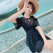 Lace Women Swimwear Tankini Set Halter Lady Summer Dress Black Swimsuit With Shorts Beach Wear Hollow Out Bandage Bathing Suit alluring halter striped hollow out women s tankini set