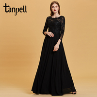 Tanpell Long Sleeves Evening Dress Sexy Black Appliques Bateau Neck Floor Length A Line Gown Women