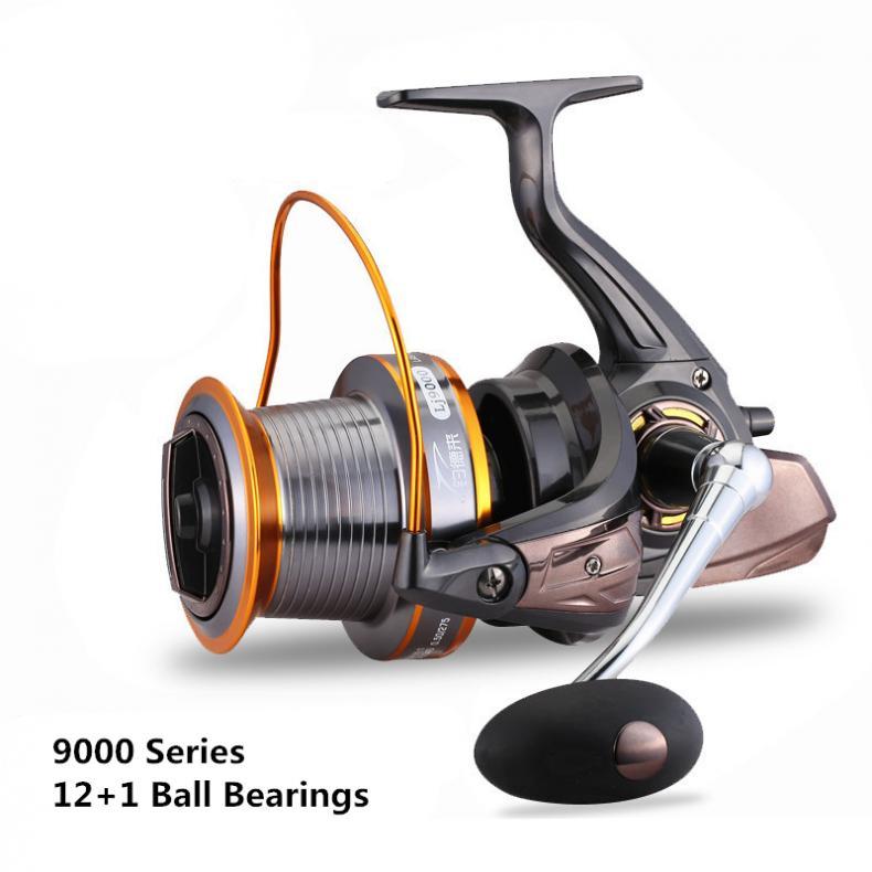 9000 シリーズ 12 + 1 ボールベアリングフルメタルスプールジギングトローリングロングショット鋳造スピニングビッグ海左/ 右釣りリール -    グループ上の スポーツ & エンターテイメント からの 釣りリール の中