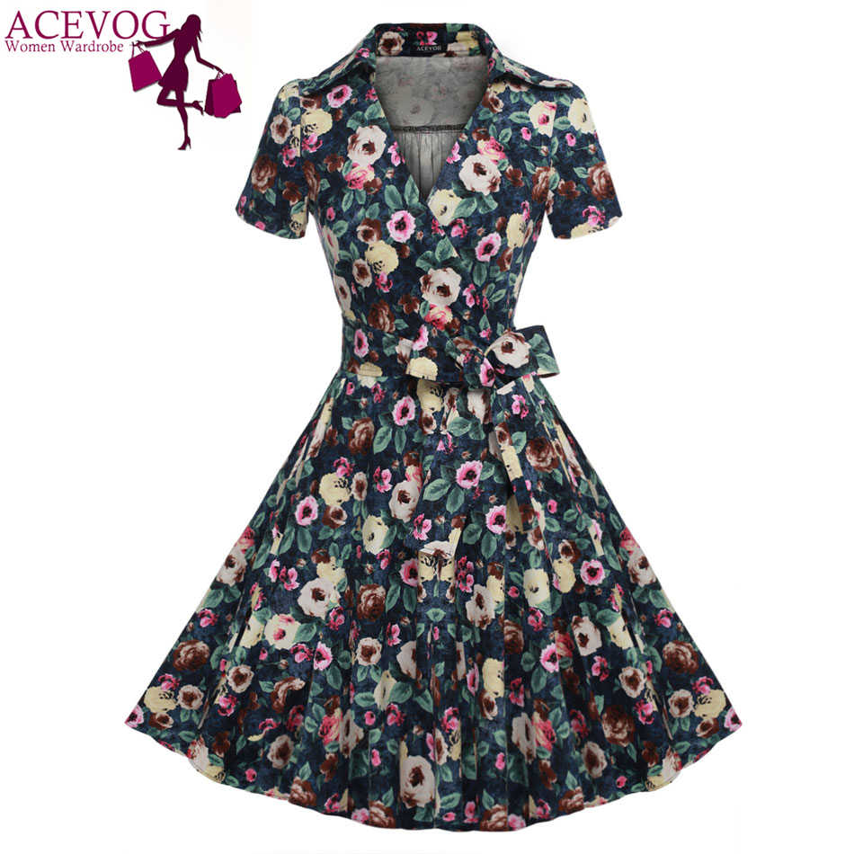 4315b9d39bf ACEVOG Brand Women Dress Summer Floral Print 2017 Vintage Bow Tunic Casual  Mid Calf Long Swing