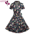 ACEVOG Brand Women Dress 2017 Newest Fashion Vintage Tunic Casual Summer Mid Calf  Long Swing Dresses For Lady Elegant Clothing