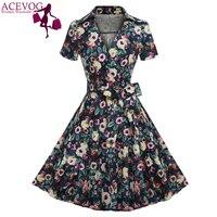 ACEVOG Marka Kobiety Sukienka Lato Kwiatowy Print 2017 Vintage Bow Tunika Casual Połowy Łydki Długie Huśtawka Sukienki Pani Elegancka Odzież