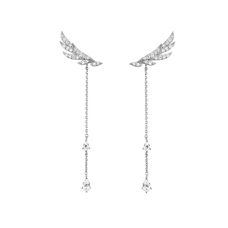 925 sterling silver Stud earrings Long tassels ear wire Angel wings white stone Women's fashion jewelry wholesale