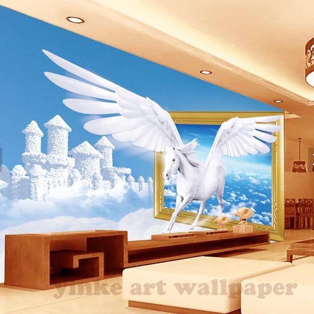 US $9.84 45% OFF|Benutzerdefinierte 3D Fototapete traumhafte wolke pegasus  Wandmalerei Wohnzimmer Schlafzimmer Eingang Hintergrund Wandbild Tapete in  ...