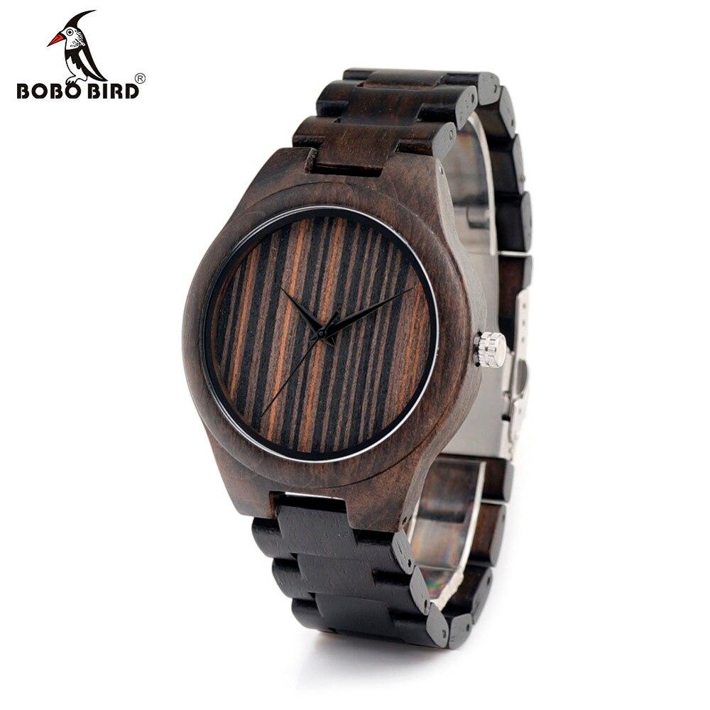 BOBO BIRD Wood Band Men Watches Black Luxury Brand Wood Wristwatch Wood Strap Japan Movement 2035