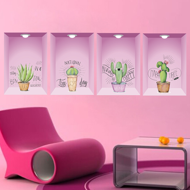 3D Vivid Hole Potted Plants Flower Floral Wall Stickers For Living Room Bedroom Decoration Mural Decor PVC Wall Art Office Decal