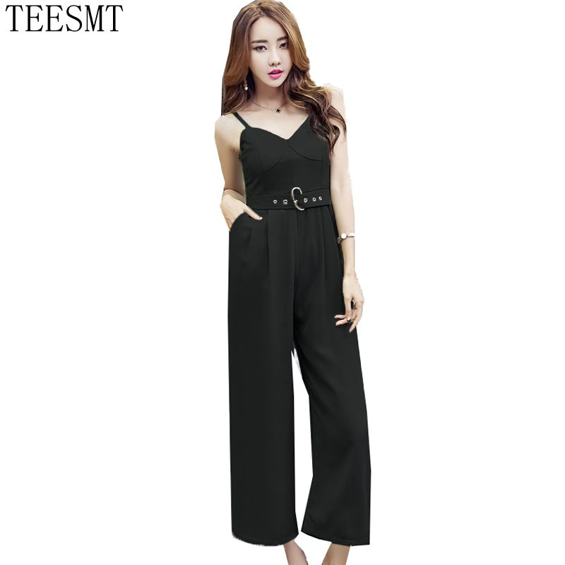 2018 NEW Summer Women Spaghetti Strap Sleeveless Black Women Rompers Jumpsuits Bodysuit ...