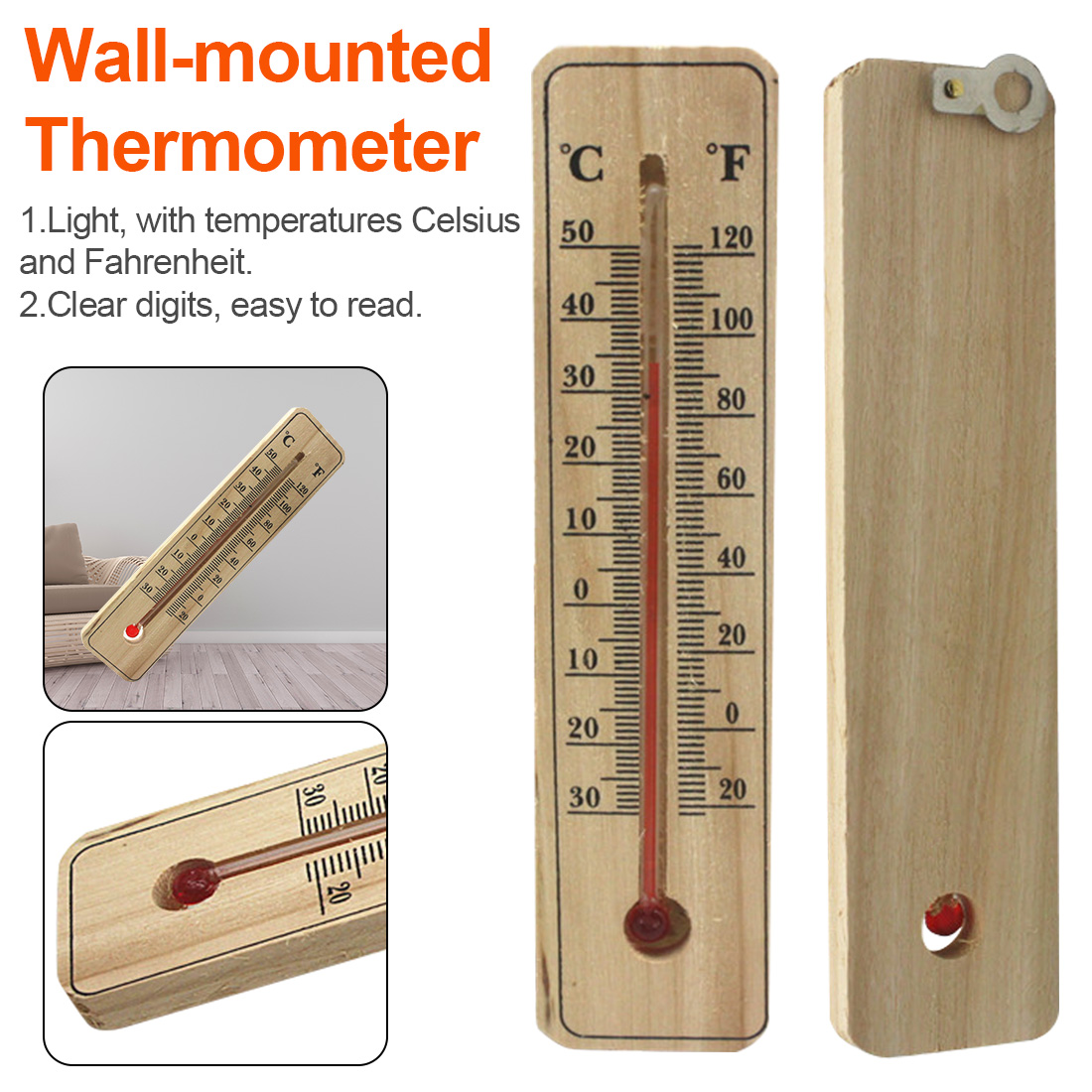 1PCS Wall Hang Thermometer Indoor Outdoor Garden House Garage Office Room Hung Logger