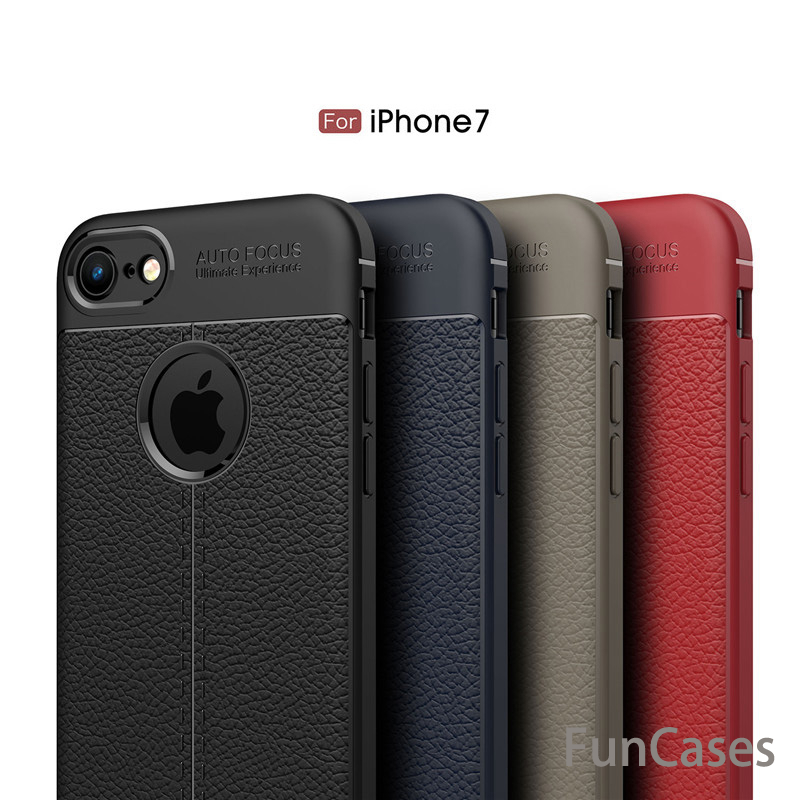 Leather Grained Luxury TPU Shockproof Back Cover Case For Apple iPhone 7/8 4.7 inches iphonw pouzdra pgone estojo iphonw