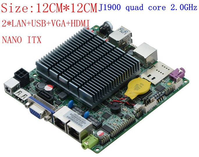 20 PCS Low Power Fanless Nano ITX Motherboard Desktop  With J1900 2.0ghz 2*1000M Lan Hdmi And Vga