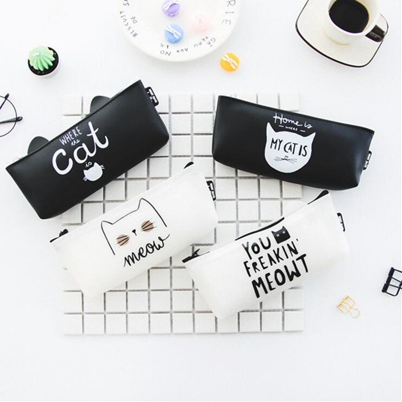 M035 New Cute Cartoon Women Purses Creative Black White Cat Jelly PU Coin Purse Wallet Pen Bag Student Gift Wholesale m705 2018 cute cartoon women cloth bag fashion coin purses creative alpaca design handbag student girl women gift wholesale
