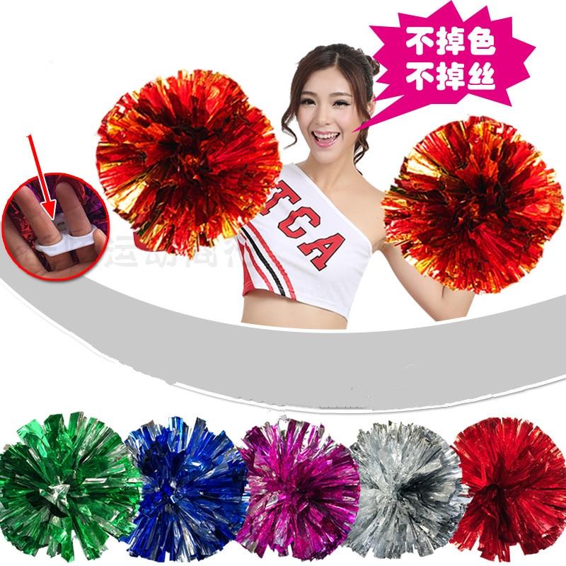 Envío gratis Mixto rojo y oro solo párrafo Cheerleading Pom Poms - Deportes de equipo