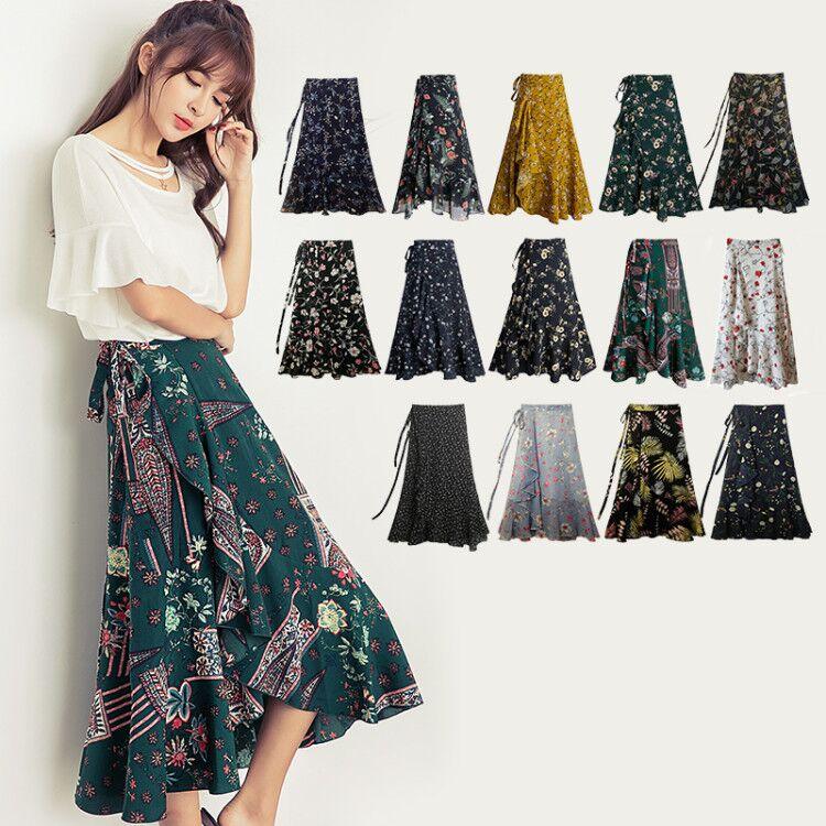 Bohemia Beach Skirt Women Spring Summer Chiffon Flower Pattern SkirtMedium Elastic Waist Skirt