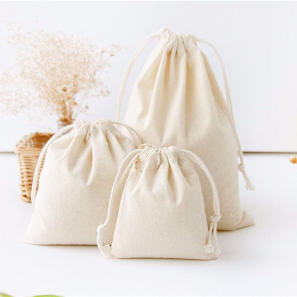 Pure White Cotton Linen Gift Bag Birthday Party Wedding Favor Holder Makeup Jewelry Drawstring Pouch