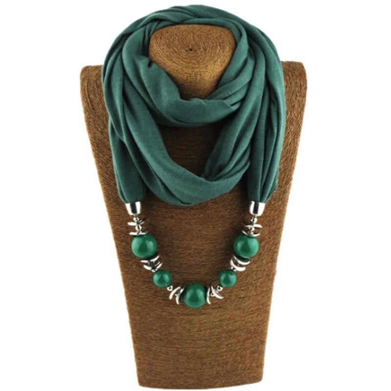 Fashion Ethnic Polyester Solid Collar Tassel Gorgeous beads pendants jewelry Necklace Jewelry Scarf Women Shawl Scarves Hot 2018 women scarf muslim hijab scarf chiffon hijab plain silk shawl scarveshead wrap muslim head scarf hijab