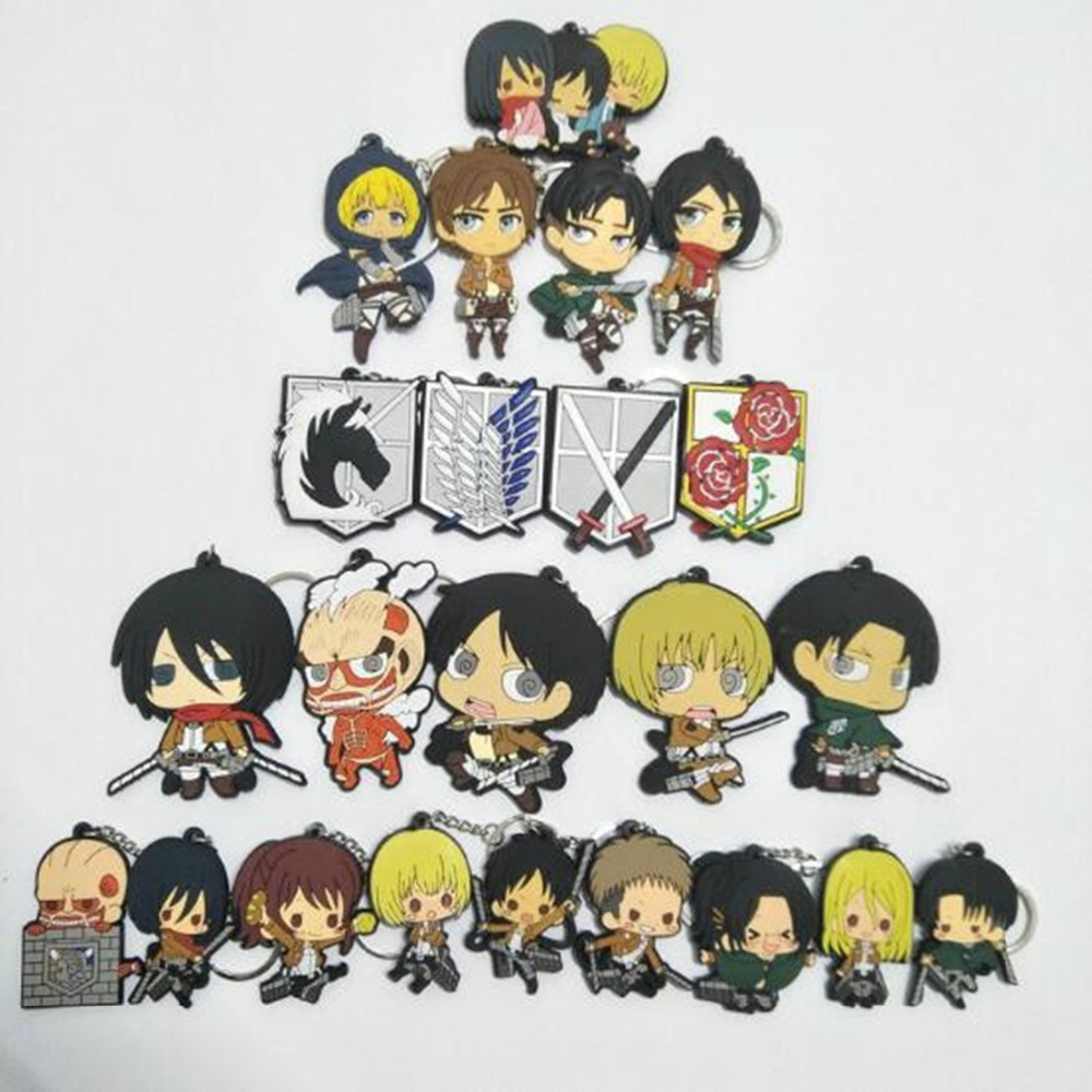 17 Style Attack On Titan Pvc Pendant Key Chain Special Eren Ackerman Joger Rivaille Levi Cosplay Llavero Chaveiro Kids Mini Cute 2018 In Chains From Jewelry