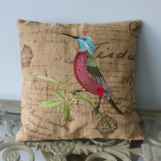 VEZO HOME Embroidered Bird Burlap Sofa Cushions Cover Chair Throw Pillows  Cover Seat Pillow Case Home