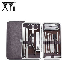 XYj Manicure Pedicure Set Nail Clippers 17 Pieces Stainless Steel Nail Kit Professional Grooming Kit with Leather Travel Case недорого