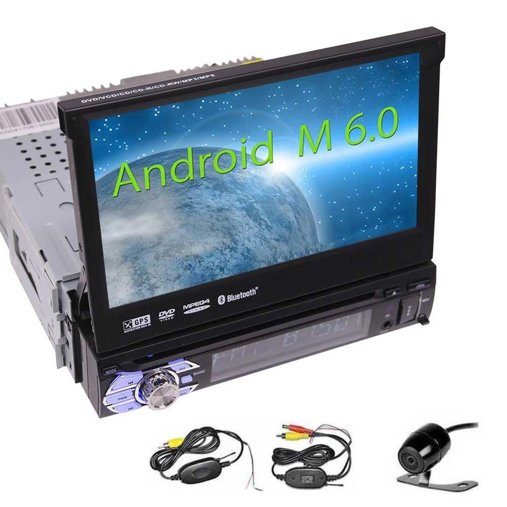 Wireless Reversing Camera+Android 6.0 1 Din Car DVD Player Touchscreen Car Stereo with GPS Head Unit Auto Radio Receiver 1080P