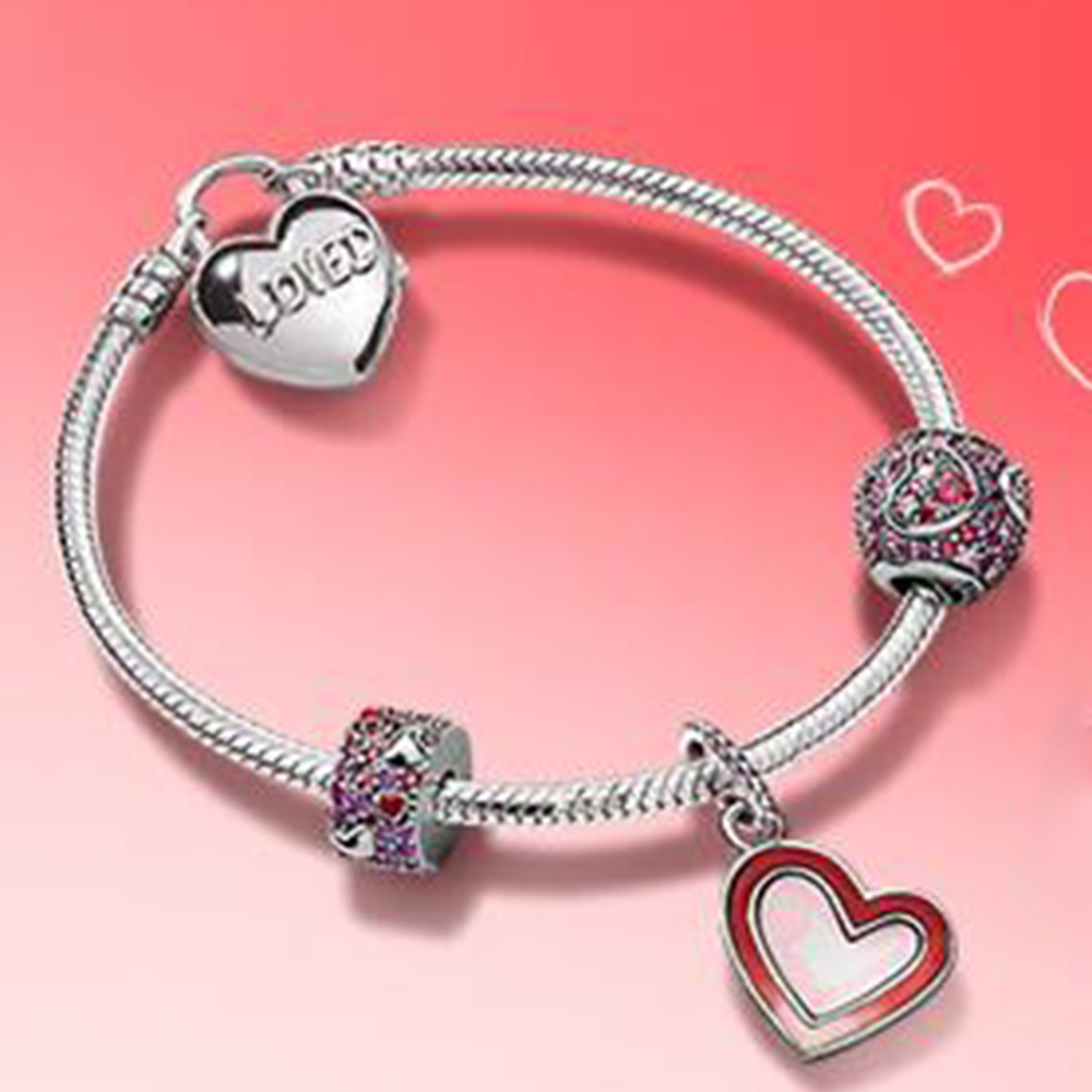 NEW 100% 925 Sterling Silver 2019 Valentines Day Love Bracelet Set Premium Product Jewelry Making Vintage For Womens GiftsNEW 100% 925 Sterling Silver 2019 Valentines Day Love Bracelet Set Premium Product Jewelry Making Vintage For Womens Gifts