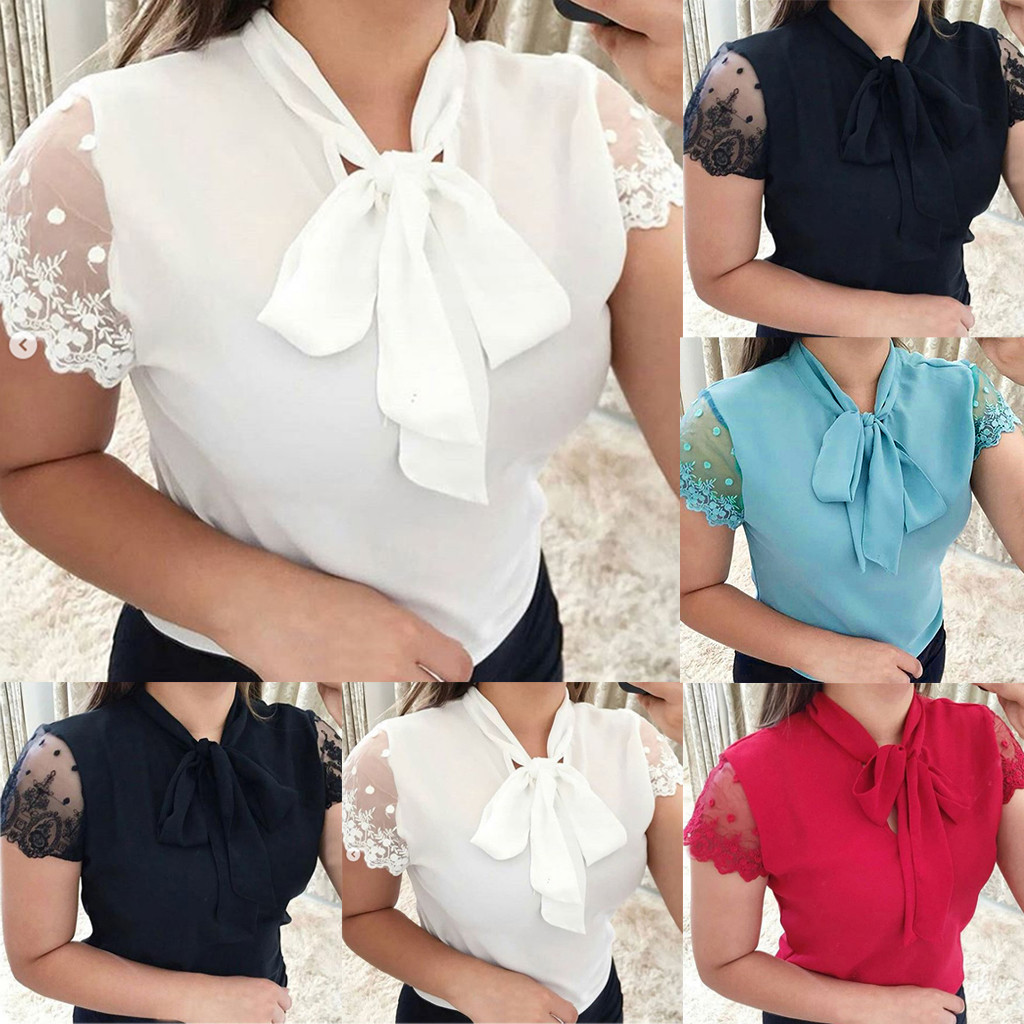 Women Summer Work Office Lace Top Bow Tie solid color Slim Short Sleeve Chiffon Shirt ropa mujer#10