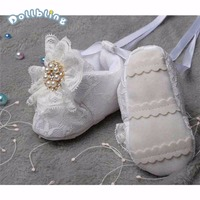 Custom Christening Pearls Clear Crystal Baby Shoes For Newborn Infant White Ribbon Childhood Keepsake Gifts First Walkers Shoes