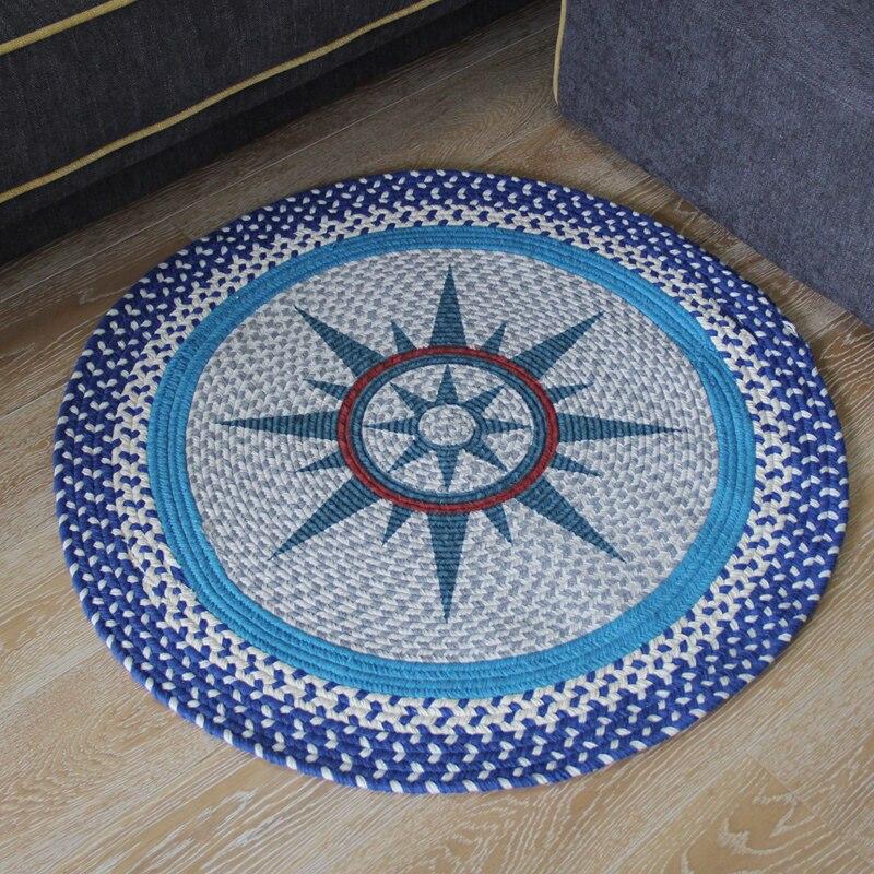 Tapis en coton fait à la main tapis ronds et tapis lavable en Machine absorbant antidérapant pour salon chambre tapis Runner
