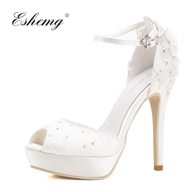 Eshemg 2019 Bridal Wedding Shoes Peep Toe Crystal White