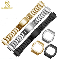 Solid stainless steel watchband for casio GW M5610 DW5600 GW 5000 DW 5030 G 5600 watch band and frame case solid metal bracelet