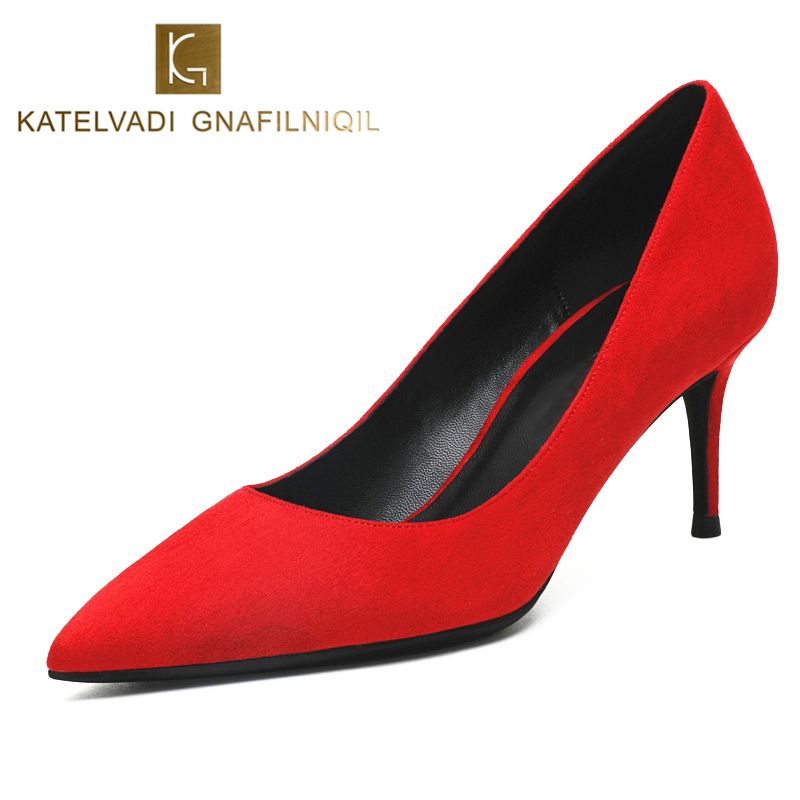 KATELVADI Wedding Shoes 6 5CM High Heels Red Flock Fashion Women s Shoes With Heels Pointed