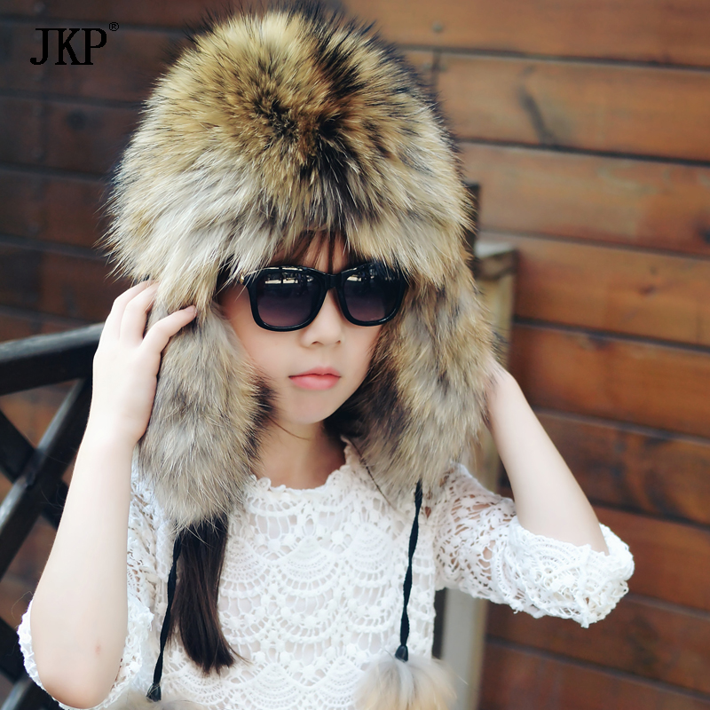 JKP 2018 New Children's fur hat winter new boys and girls fox fur warm fur cap fashion parent-child ear protector head hat HT-02 free shipping mink fur kintted cap fur cap fur hat wholesale