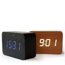 Bamboo Wooden Digital LEDclock Calendar Thermometer Acoustic Control Sensing desktop vintage font b table b font