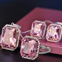 Nasiya 925 Sterling Sliver Quartz Bride Wedding Jewelry Set Wholesale Woman's Rings Earrings Necklace Jewelry Set For Women