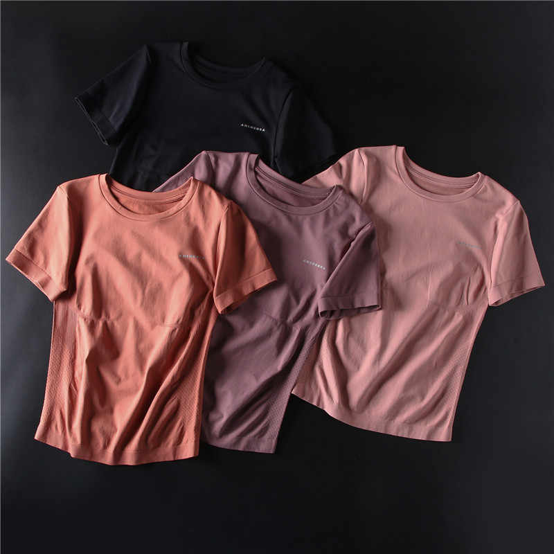 Frauen Kurzarm Yoga Shirts Rosa Scoop Neck Crop Top Gym Shirt Leichte camisas mujer Workout Top Sport Tragen