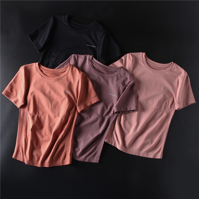 Gym Shirt Workout-Top Sports-Wear Women's Short-Sleeve Pink Lightweight Camisas Scoop title=