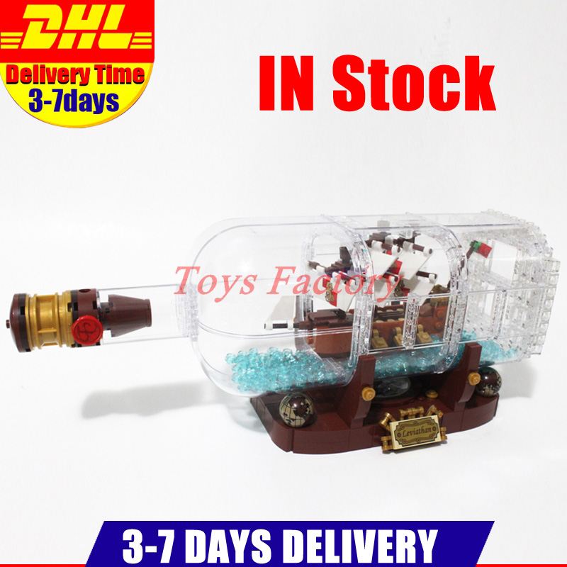 все цены на IN STOCK Clone 21313 Lepin 16051 Ship In A Bottle Creative Pirates Caribbean Ship Pirates Series Building Blocks Bricks Kits Toy