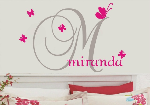 Custom personalised name butterflies wall stickers kids nursery vinyl wall decor baby wall decals wall stickers