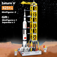 City fit legoingly Staturn V Launch Spaceport rockets station Models Building Blocks Brick airship kids Toys Children gift