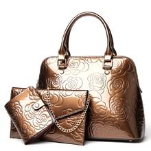 High Quality PU Leather Women Bags Floral Printing 3pcs Set Women Handbags Purse Cultch Composite Messenger bag Leisure Tote Sac