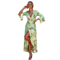 Women Floral Print Dress Flare Sleeve Maxi Bohemian Viscose Party Holiday Summer Boho Long Dresses Girl Sexy Deep V Neck Hot