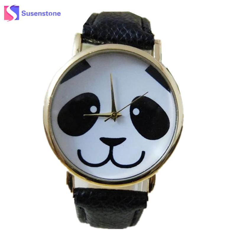 Cute Panda Pattern Watch Women Quartz Wrist Watches Fashion Faux Leather Band Ladies Casual Watch montre femme relogio feminino купить