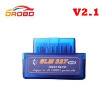 New Version Diagnostic Tool Code Reader V2.1 Blue Color Super Mini ELM327 ELM 327 Bluetooth OBD-II OBD OBD2 Scanner