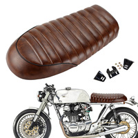 Motorcycle Retro Vintage Custom Brown Flat Brat Style Tracker Cafe Racer Seat For Honda CB CG 125
