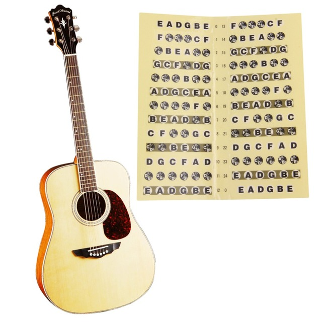 2016 new Guitar Fretboard Sticker 24 Frets Note Decal Beginners Learning Music Lesson free shipping