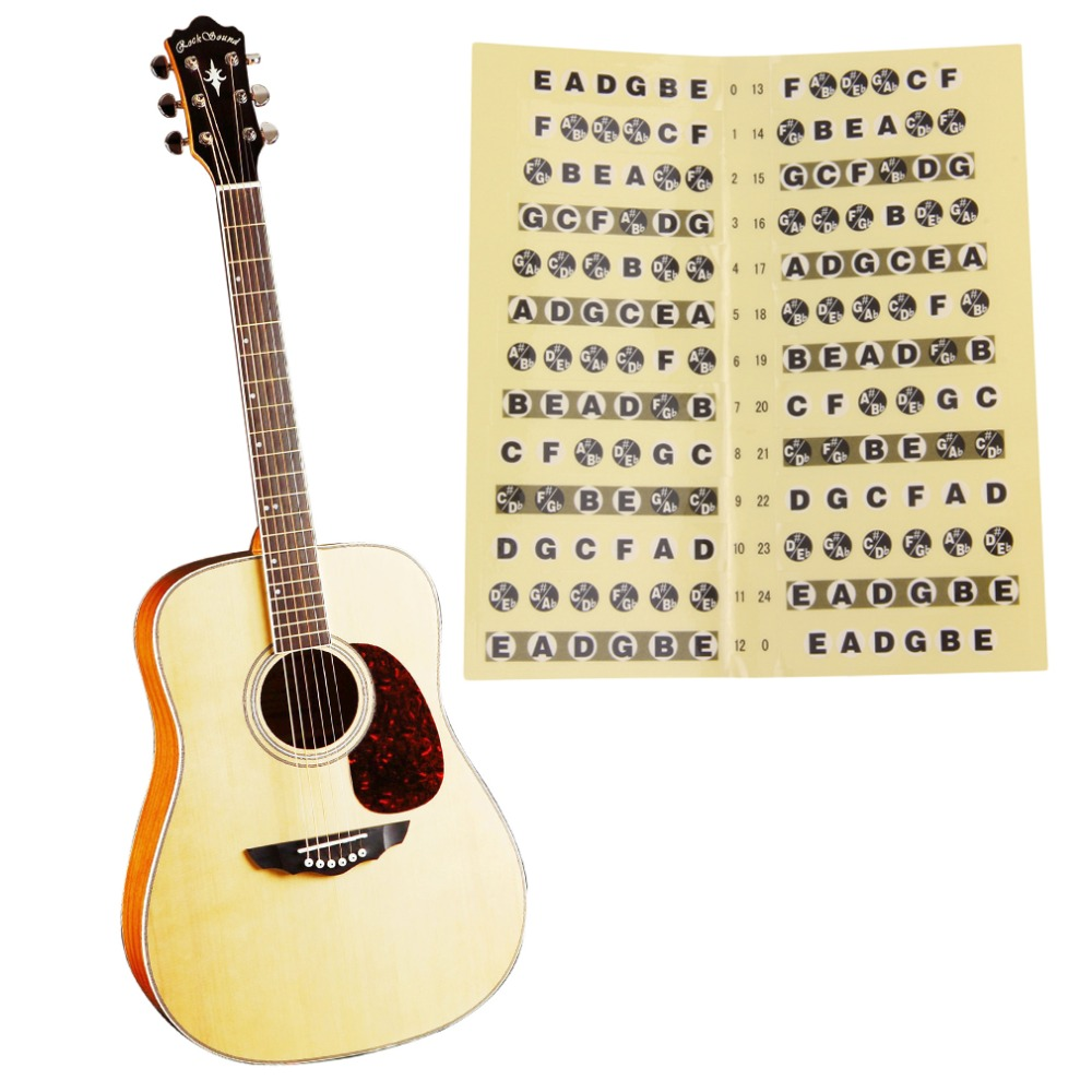 2017 new Guitar Fretboard Sticker 24 Frets Note Decal Beginners Learning Music Lesson free shipping