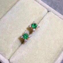 Женские серьги-гвоздики, модные ювелирные изделия, зеленый цвет, природа, изумруд, 925 пробы, серебро, серьги-гвоздики, изысканные серьги